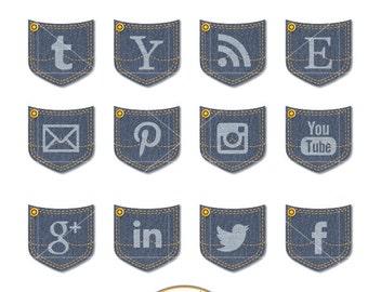 Blue Denim Social Media icons, Social Media buttons, Web icons, Web buttons, Blog icons, Website icons, Blog buttons