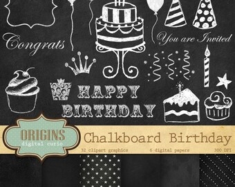 Birthday Chalkboard Clipart and Digital Paper for Invitations, Scrapbooking, DIY printable Clip Art, Instant Download Commercial Use