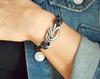 Zamak Metal and Leather Love Knot Bracelet with Magnetic Closure