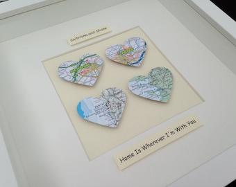 Vintage Map Frame - Four Hearts