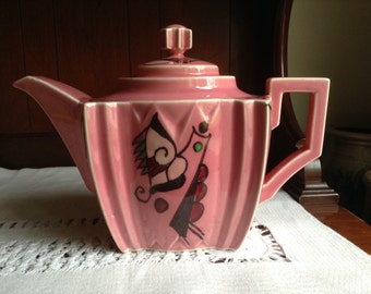 Art Deco Rose Pink Teapot Art Deco Style Made in Japan