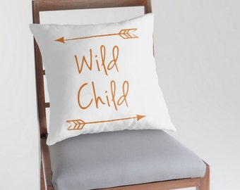 Wild Child Pillow Cover, Customizable Pillow, Woodlland Nursery, Nursery Decor, Arrow Pillow, Rustic Nursery Decor, Quote Pillow
