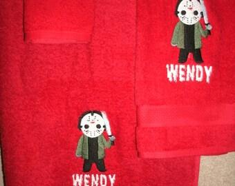 Jason Horror Personalized Jason Horror Bath, Hand Towel  & washcloth set Jason Friday the 13th  Any Color