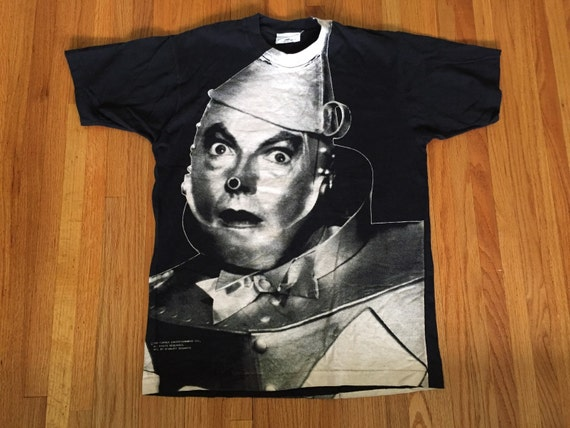 Vintage 1992 wizard of oz all over print tin man t shirt size for Wizard t shirt printing