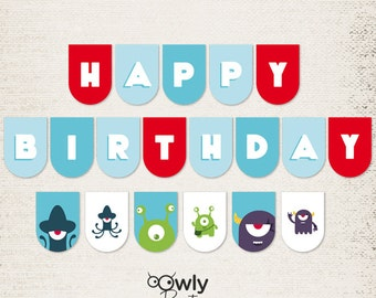 Happy Birthday Banner,Printable  Alien Birthday Decorations. INSTANT DOWNLOAD. Happy birthday plus extras flags.