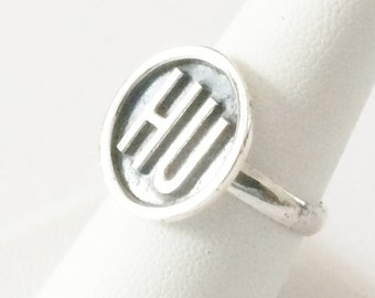 Size 8.5 Sterling Silver HU Ring
