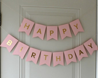 Happy Birthday Banner - Pink with Gold Foil Letters