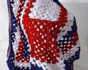 Vintage  Blanket/ Red White Blue/ Knit Blanket/  knit Throw/ Crochet/  Baby Blanket/  Afghan/  Cover/ anestasvintagelinens