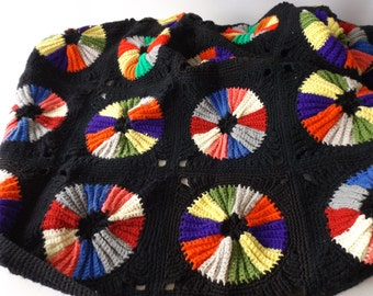Vintage Afghan/ Sunburst Granny Square/Black/ Multi Color Blanket /Medium Weight Throw / Crochet Afghan / Lap Blanket /  Vintage Linens