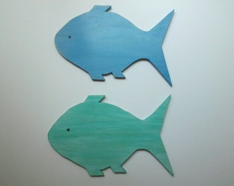 wooden fish wall art, distressed, nautical decor, beach cottage decor, nursey decor