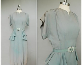 Flawed Beauty Dress • 1940s Peplum Dress