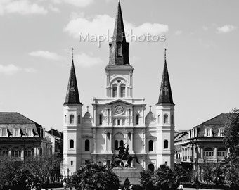 New Orleans Photo - Fine Art Photography, St. Louis Cathedral, Big Easy, travel photo, Jackson Square, black and white, print, wall art,