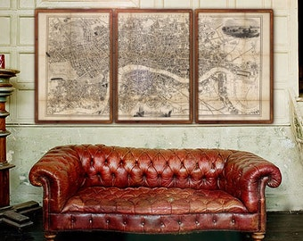 "Large map of London 1845, Victorian London map, 4 sizes up to 90x45"" (225x110 cm) in 1 or 3 parts, also in blue - Limited Edition of 100"