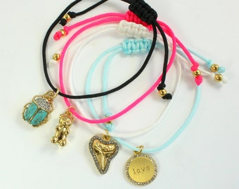 Dainty Cord / Friendship Bracelet – Adjustable! – Choice of Color - Black, White, Bright Pink or Light Blue