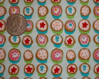 Petits Fours Desserts Alexander Henry Cotton Quilting Turquoise Blue Pink fabric BTY By The Yard