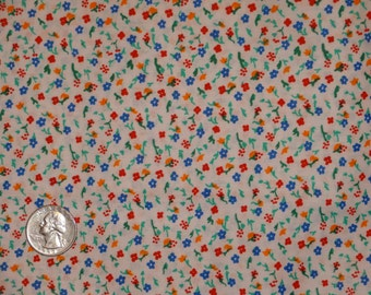 Tiny Floral Flowers White Calico Cotton Blend? Quilting Fabric BTY by the yard