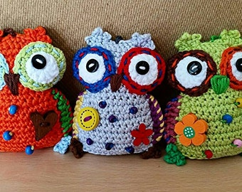 Crochet owl keychains, handbag accessories