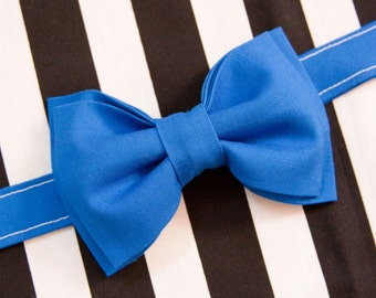 Electric Neon Blue Bow Tie – You Choose Size