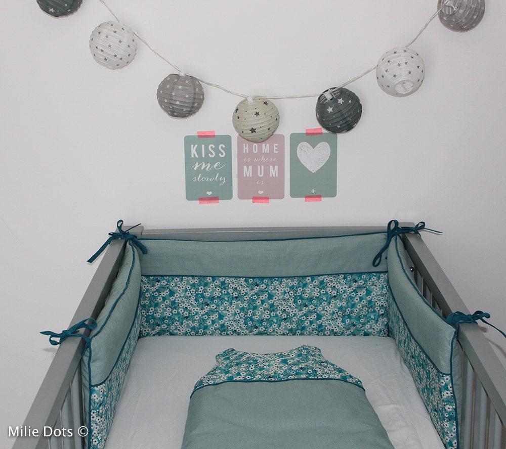 tour de lit liberty mitsi menthe l 39 eau liberty by miliedots. Black Bedroom Furniture Sets. Home Design Ideas