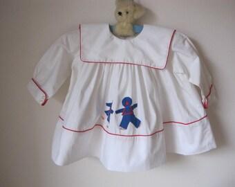 1960s Charming Child's Cotton Appliqued Dress