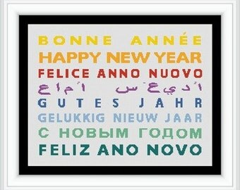 HAPPY new year/ bonne annee in the world   -Counted cross stitch pattern /grille point de croix , PDF, Instant download , free shipping