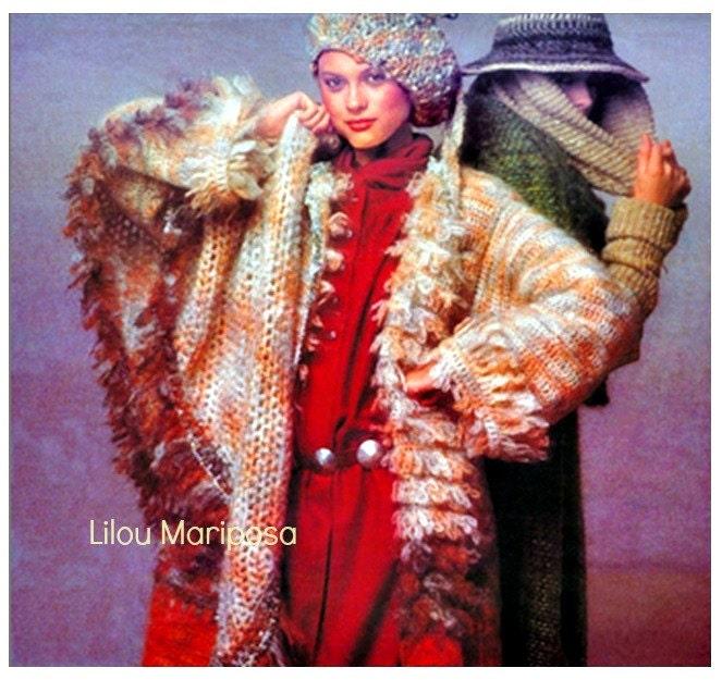 Crochet Coat Pattern Vintage 70s Faux Fur Reversible Crochet