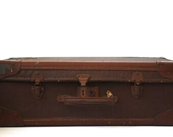 Vintage Battered Suitcase - Vintage Brown Suitcase * * * Special Reduced Price