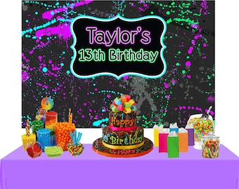 Neon Party Personalized Backdrop - Birthday Cake Table Backdrop Birthday- 13th Birthday Backdrop, Glow Party Backdrop