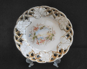 Antique Porcelain Plate Hand Painted with Reticulated Rim ca 1890s