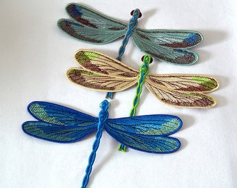 "Dragonfly Embroidered patch - Blue, Yellow, Green or Set.  The approximate size 20x14cm (7.87x5.51"")"