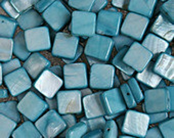 EOL - Mother of Pearl 8mm Flat Square - Teal - Pack 50