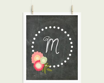 Letter M Chalkboard Polka Dot Floral Frame Curly Font Initial Monogram Instant Art