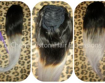 Balayage Dip Dye 8A Remy Human Hair Drawstring Ponytail Grey Ombre Hair Extensions Dip Dye Balayage in  Medium Length