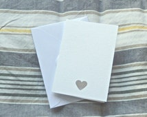 Pack of 10 heart punched cut out white mini A7 cards, wedding thank you small invitation note cards and envelopes
