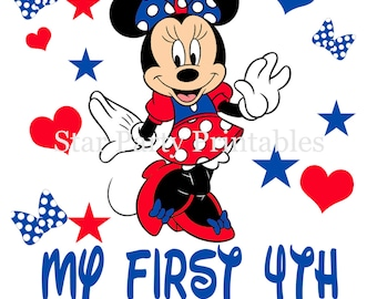Fourth of July, 4th of July, Minnie Mouse Digital Image T shirt Printable Iron On Transfer Sticker
