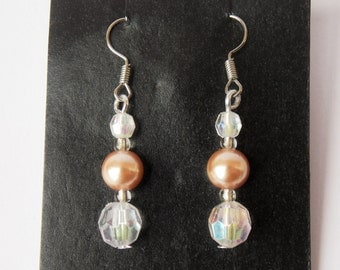 Beaded dangle earrings, handmade