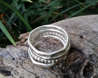Stacking ring set. Sterling silver stackable rings. Made to order in Australia solid 925 sterling silver stacking rings set of 4.
