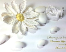 Uncinetto Daisy, Crochet Daisy, Flowers Favors, Bouquet flowers, home decor, Flower crochet, hair accessories, creative material