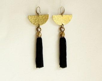 Tassel earrings, Boho chic earrings, Dangle earrings, Statement earrings, Black tassel earring, Boho earrings, Fringe Earrings, Boho jewelry