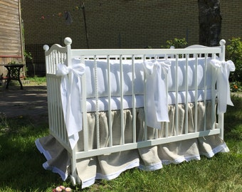 Crib bumper and skirt bedding set from natural linen /// READY TO SHIP