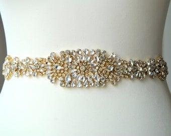 "30"" Gold Luxury Crystal Bridal Sash,Wedding Dress Sash Belt,  Rhinestone Sash,  Rhinestone Bridal Bridesmaid Sash Belt, Wedding dress sash"
