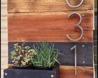 Wooden Address number Planter