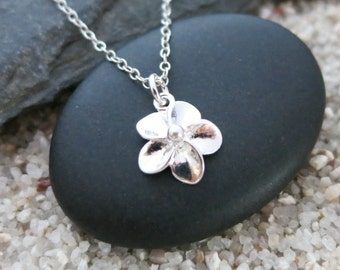 Tiny Flower Necklace, Sterling Silver Flower Charm, Nature Jewelry