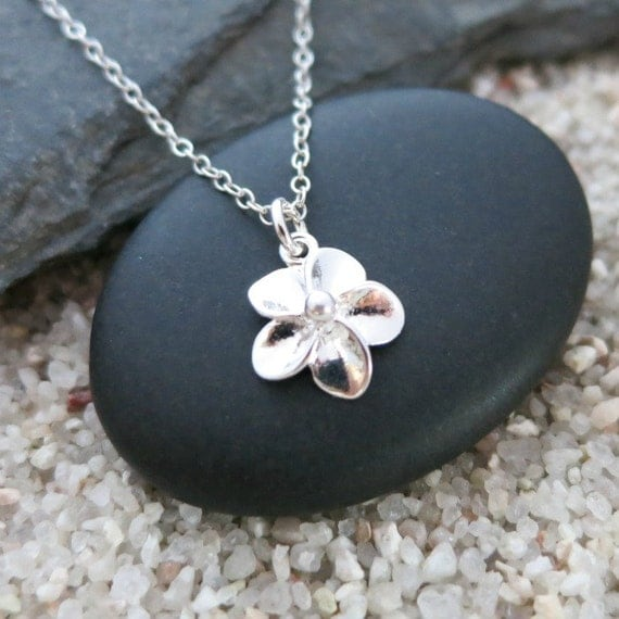 Tiny flower necklace sterling silver flower charm nature for Gemsprouts tiny plant jewelry