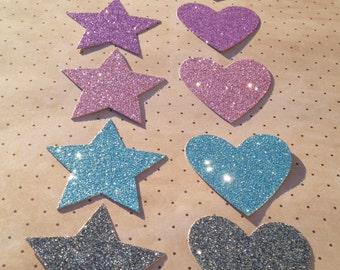 Set of 5 glitter stars and love heart die cuts