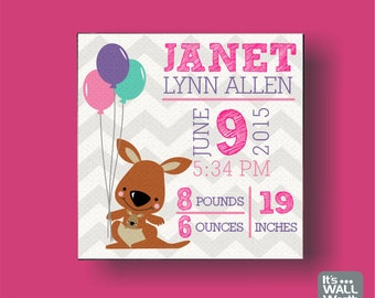 Baby Birth Announcement Canvas Print - Kangaroo Design - Nursery Canvas Subway Art , Personalized Wall Hanging