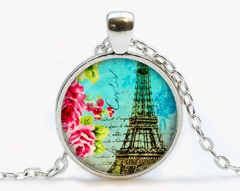 Teal Paris Collage Glass pendant. Vintage Eiffel Tower Necklace. Paris jewelry. Birthday gift