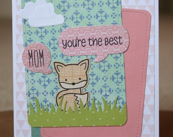 Handstamped Mother's Day Card, Handmade Mother's Day Card, Handmade Fox Card, Mother's Day Greeting Card