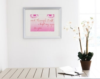 Screen print. Unique wall art. Art print. Wall art quote. Art print quote. Starkeys lane. Pink screen print. Interior. Modern art.