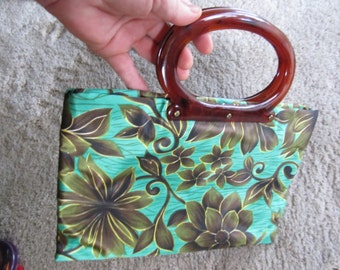 Green Floral Satiny Waterproof Purse with Lucite Handles